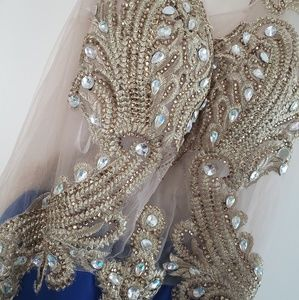Dresses - Dark blue and hold beaded dress